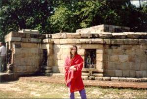 Shivagami in front of the 64 Yogini temple, Hiripur, 1990